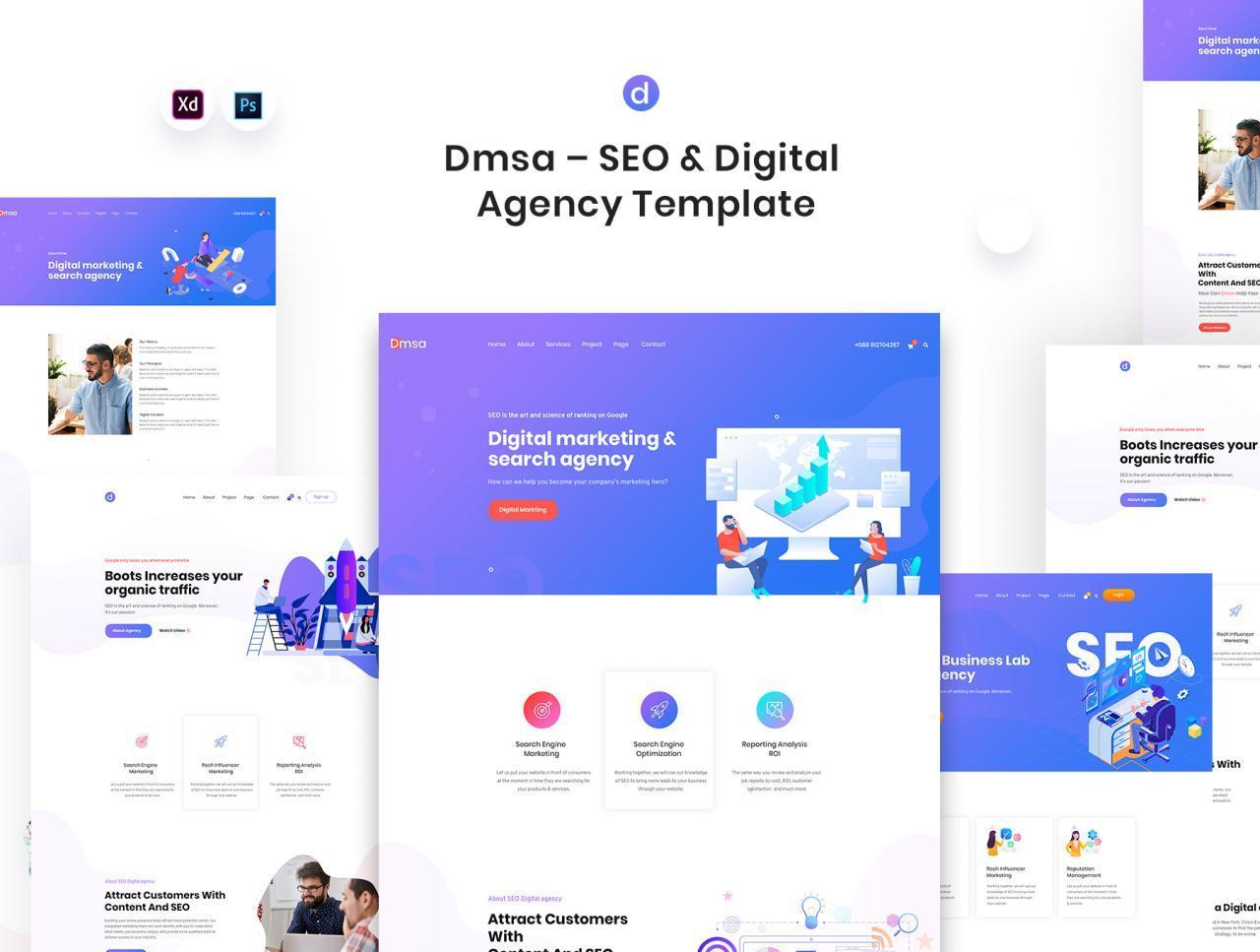 SEO优化WEB企业网站UI界面设计模板套件 Dmsa – SEO & Digital Agency Template插图