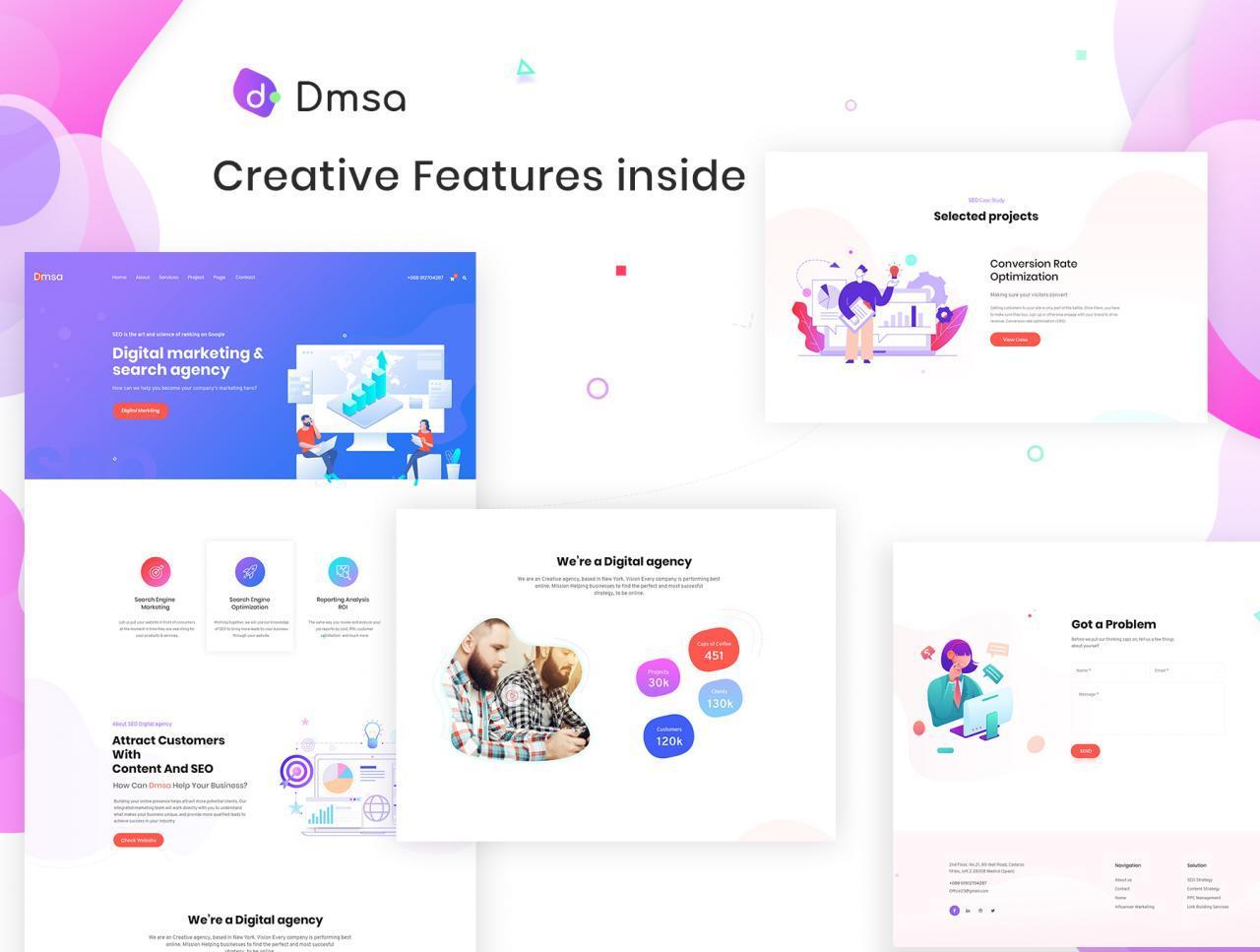 SEO优化WEB企业网站UI界面设计模板套件 Dmsa – SEO & Digital Agency Template插图(2)