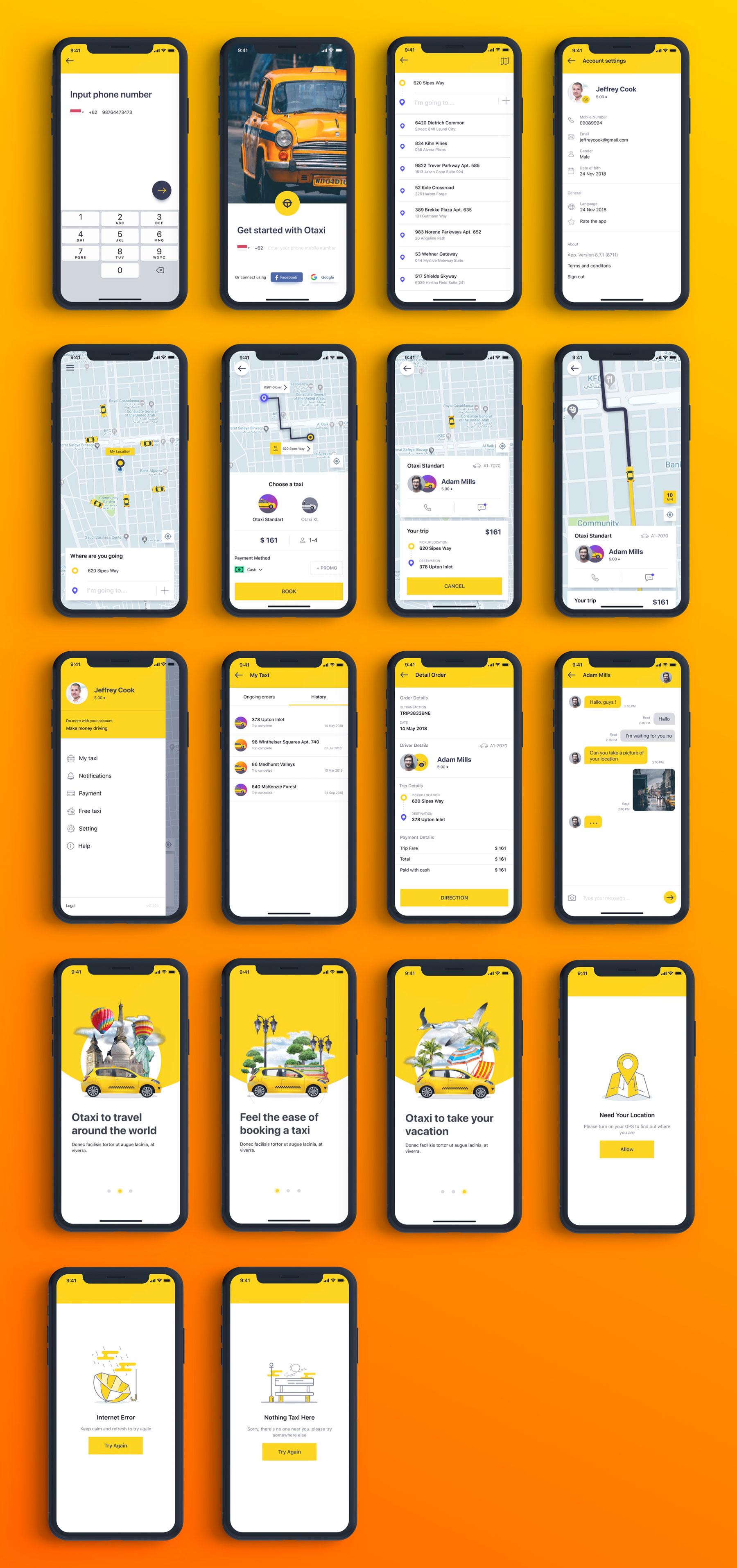 类Uber&滴滴出行叫车APP应用UI设计套件SKETCH模板 Otaxi Mobile UI Kit插图(6)