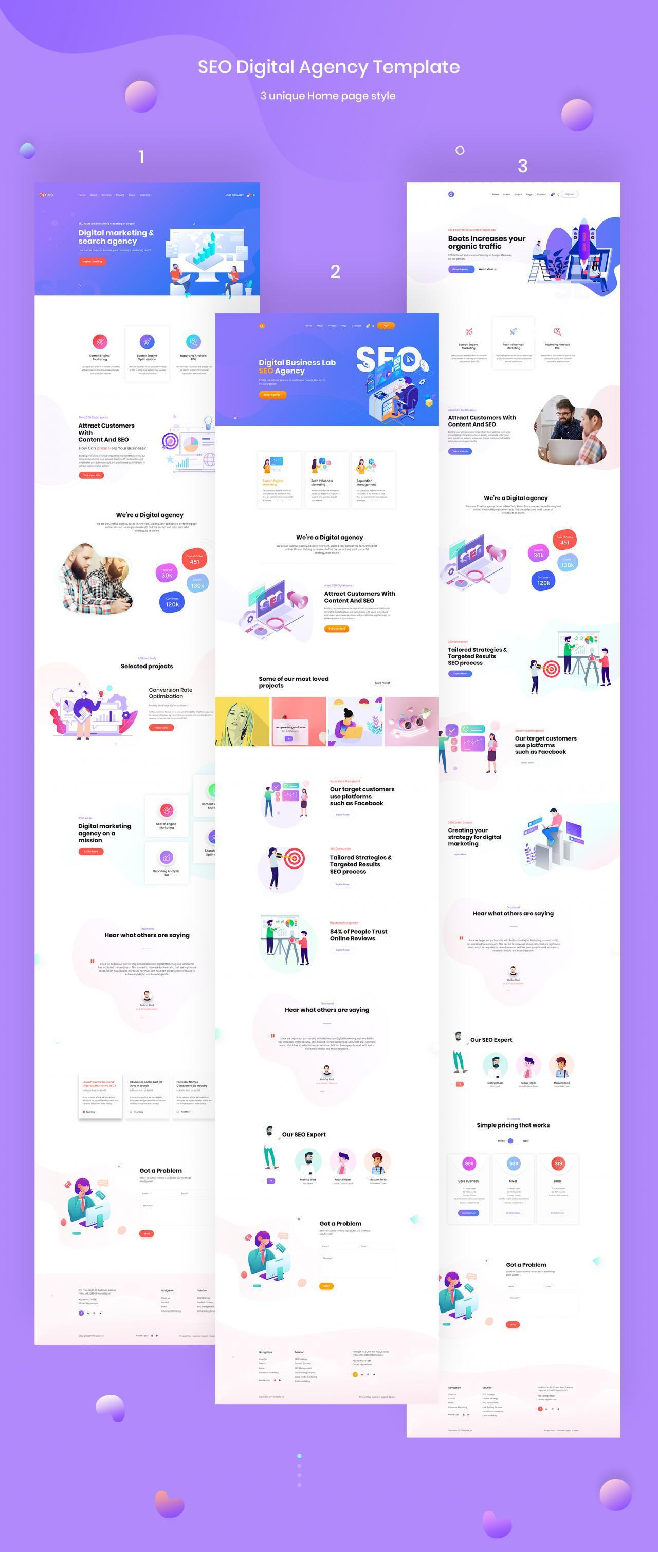 SEO优化WEB企业网站UI界面设计模板套件 Dmsa – SEO & Digital Agency Template插图(6)