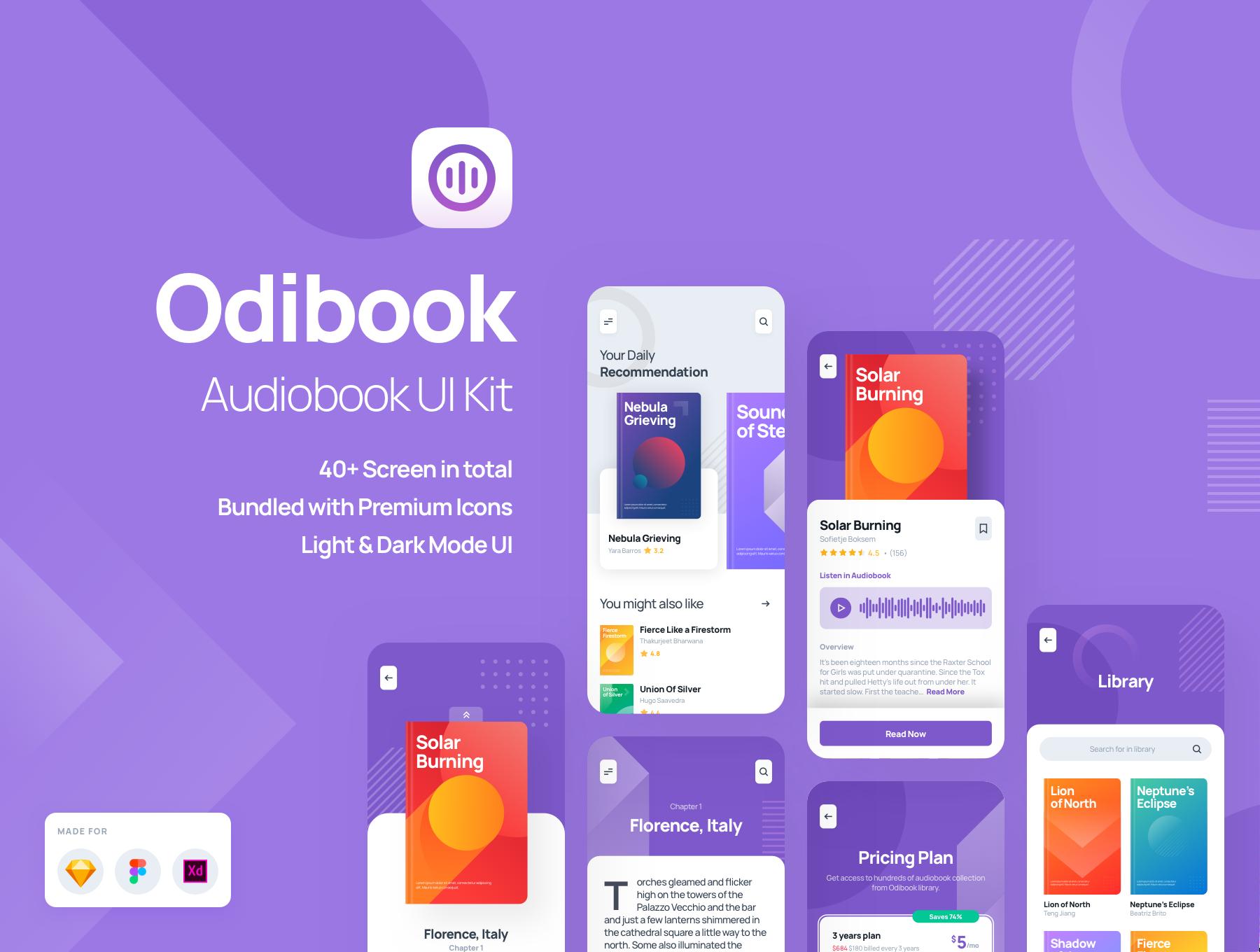 电子书在线阅读APP应用程序UI界面设计套件 Odibook – Audiobook UI Kit插图