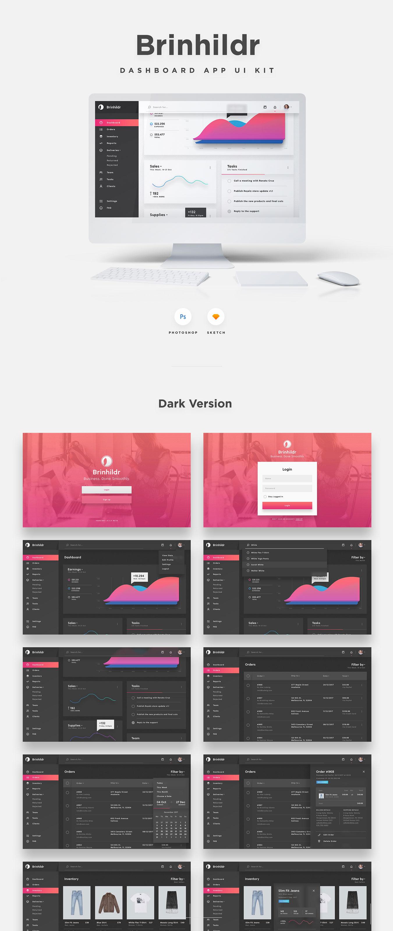 商城网站仪表盘后台管理系统WEB UI界面设计套件 Brinhildr – Dashboard Web UI Kit插图(5)