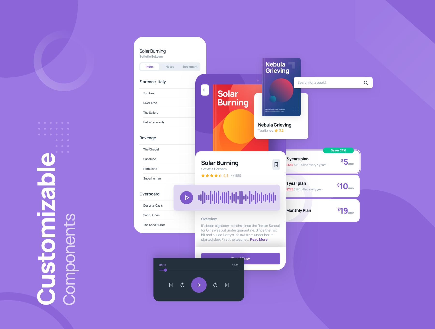 电子书在线阅读APP应用程序UI界面设计套件 Odibook – Audiobook UI Kit插图(3)