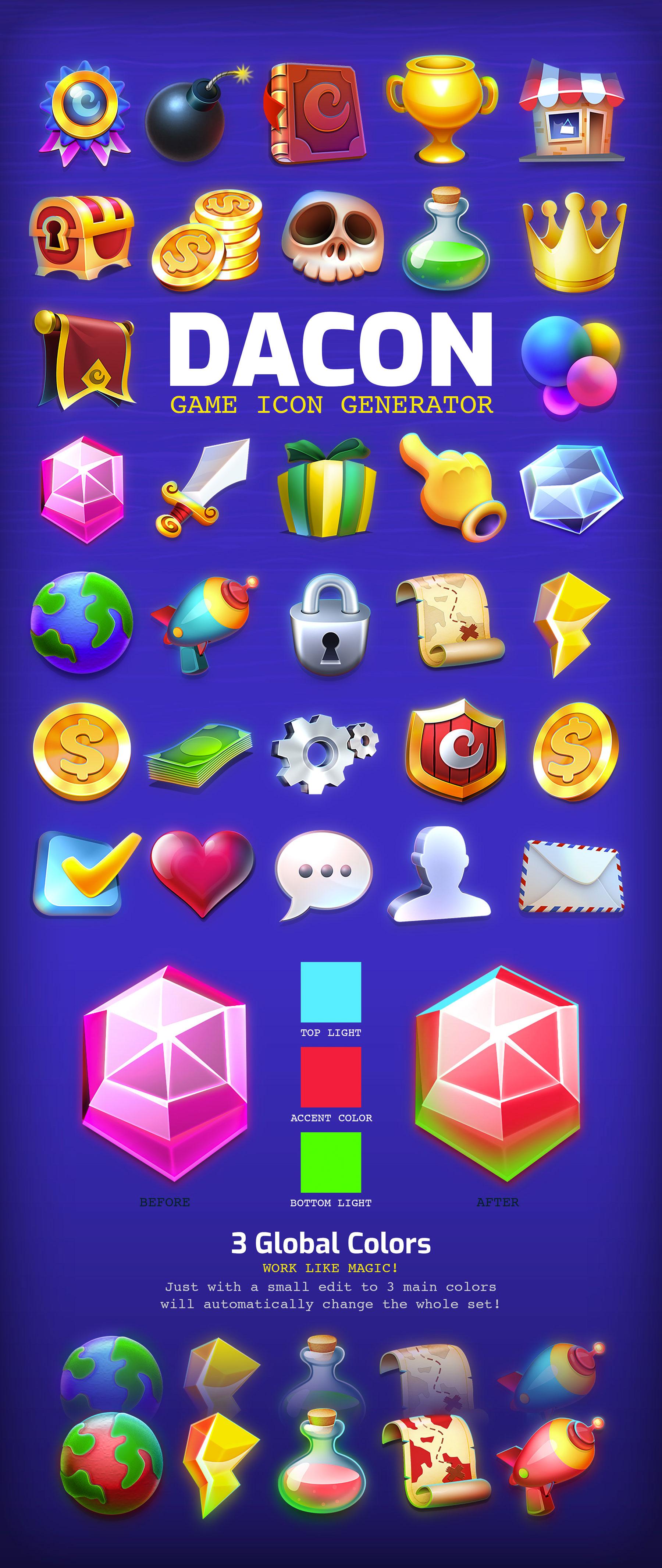 高品质多彩游戏3D图标PS设计素材 DACON – Game Icon Generator插图(8)