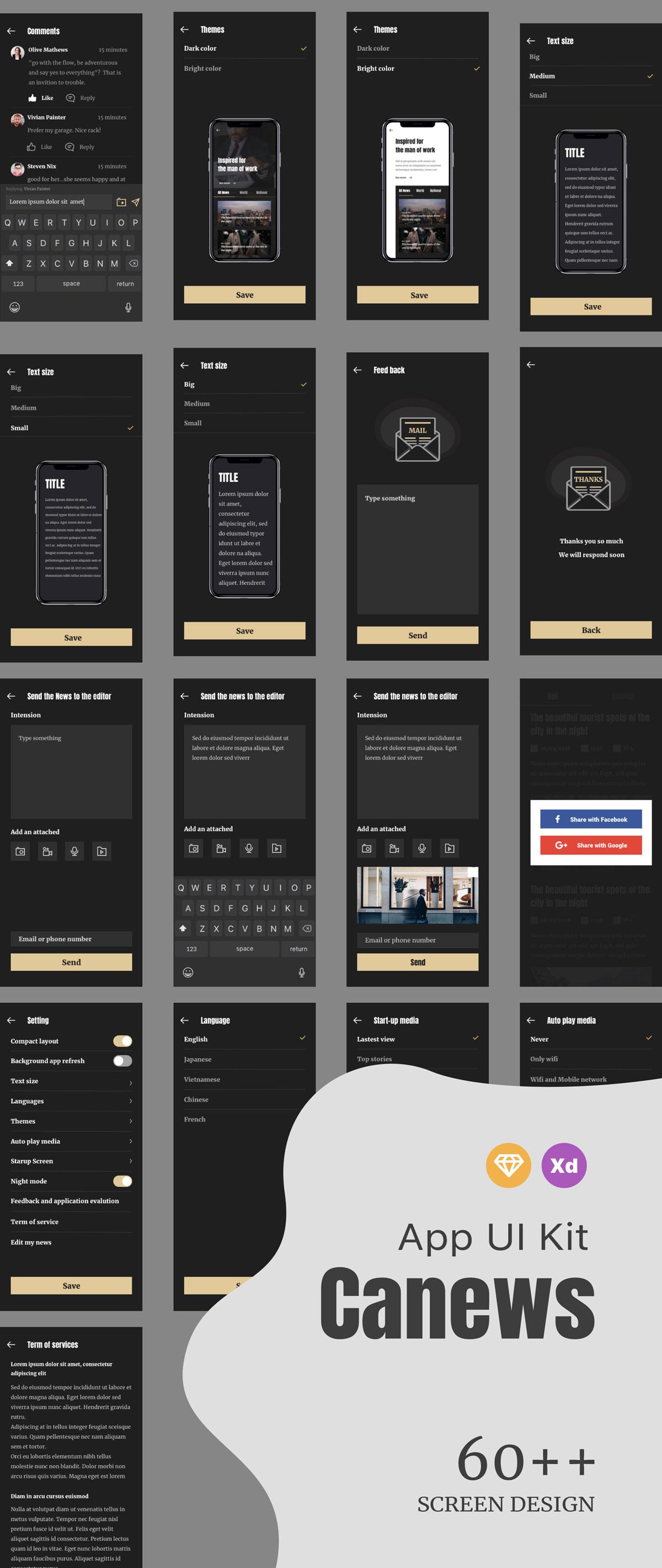 高质量新闻杂志APP应用程序UI界面设计套件 Caily News UI Kit插图(4)