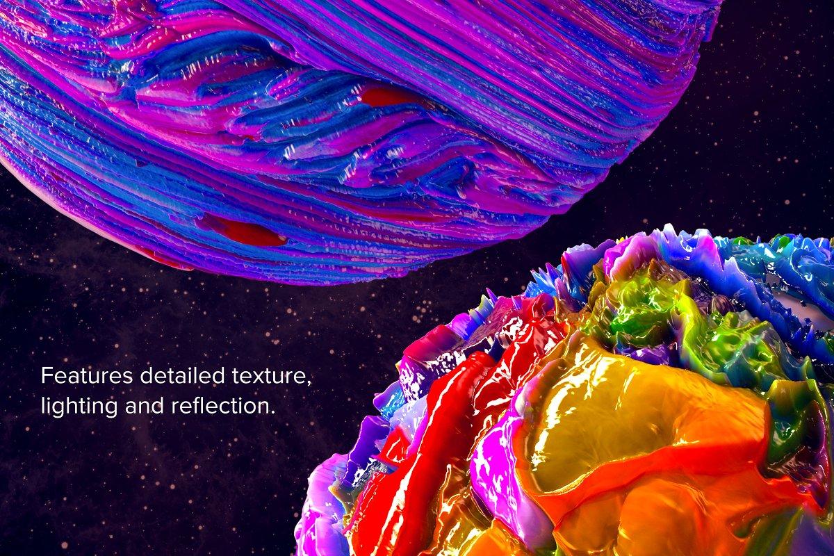 创意抽象纹理系列:抽象行星球状熔岩效果3D形状背景纹理 Planetary: 50 Abstract 3D Shapes插图(2)