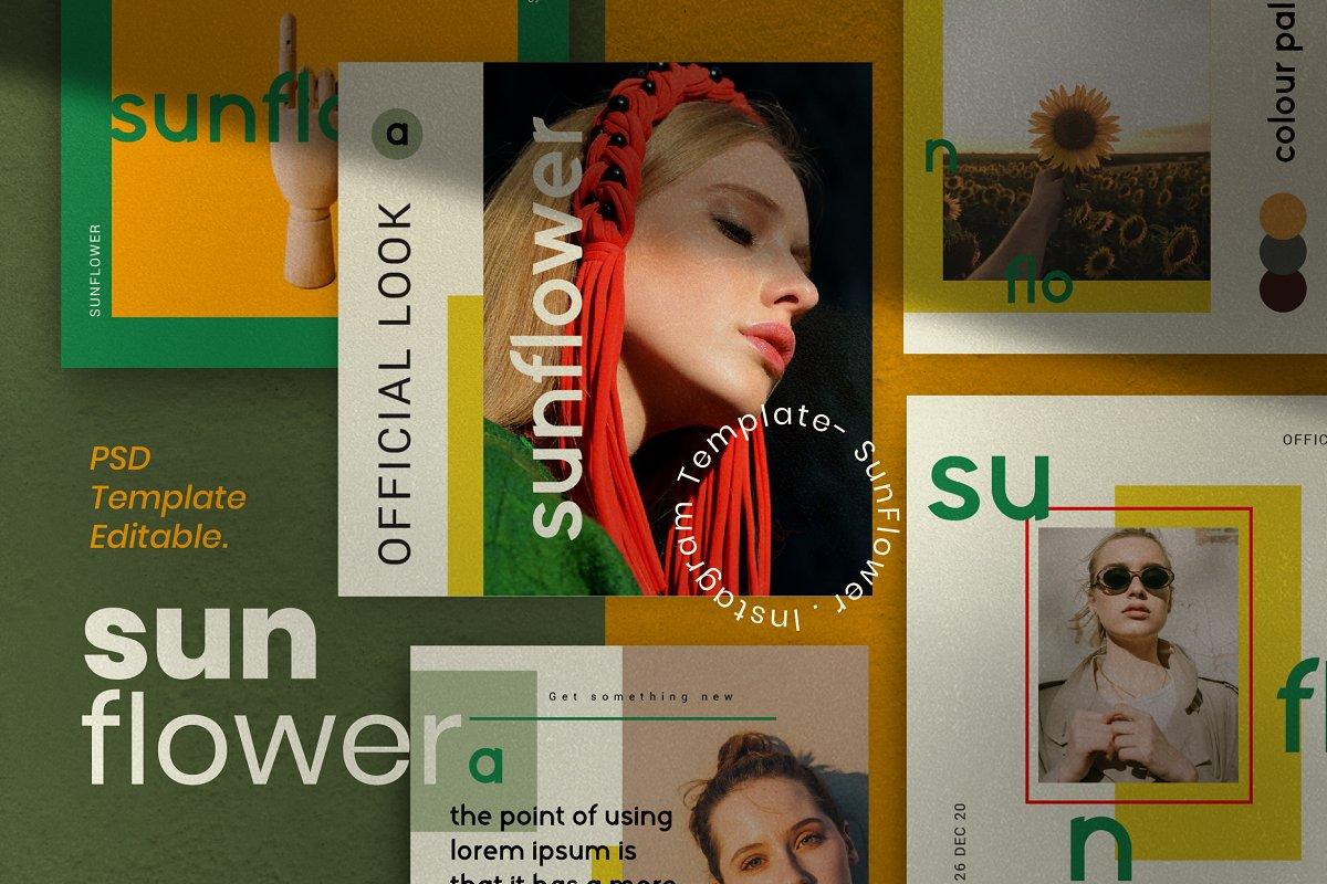 服装品牌故事社交推广设计模板素材包 Sunflower – Social Media Bundle插图(13)