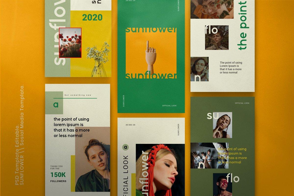 服装品牌故事社交推广设计模板素材包 Sunflower – Social Media Bundle插图(2)