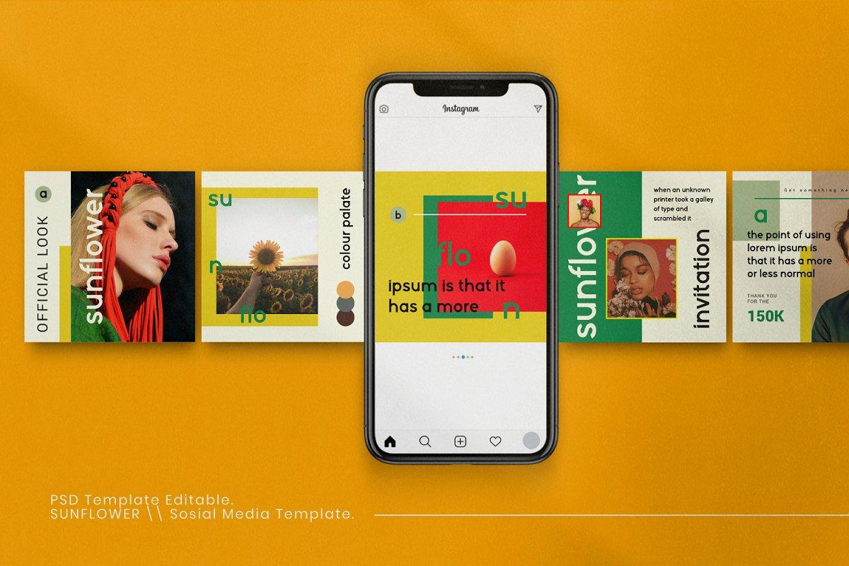 服装品牌故事社交推广设计模板素材包 Sunflower – Social Media Bundle插图(3)