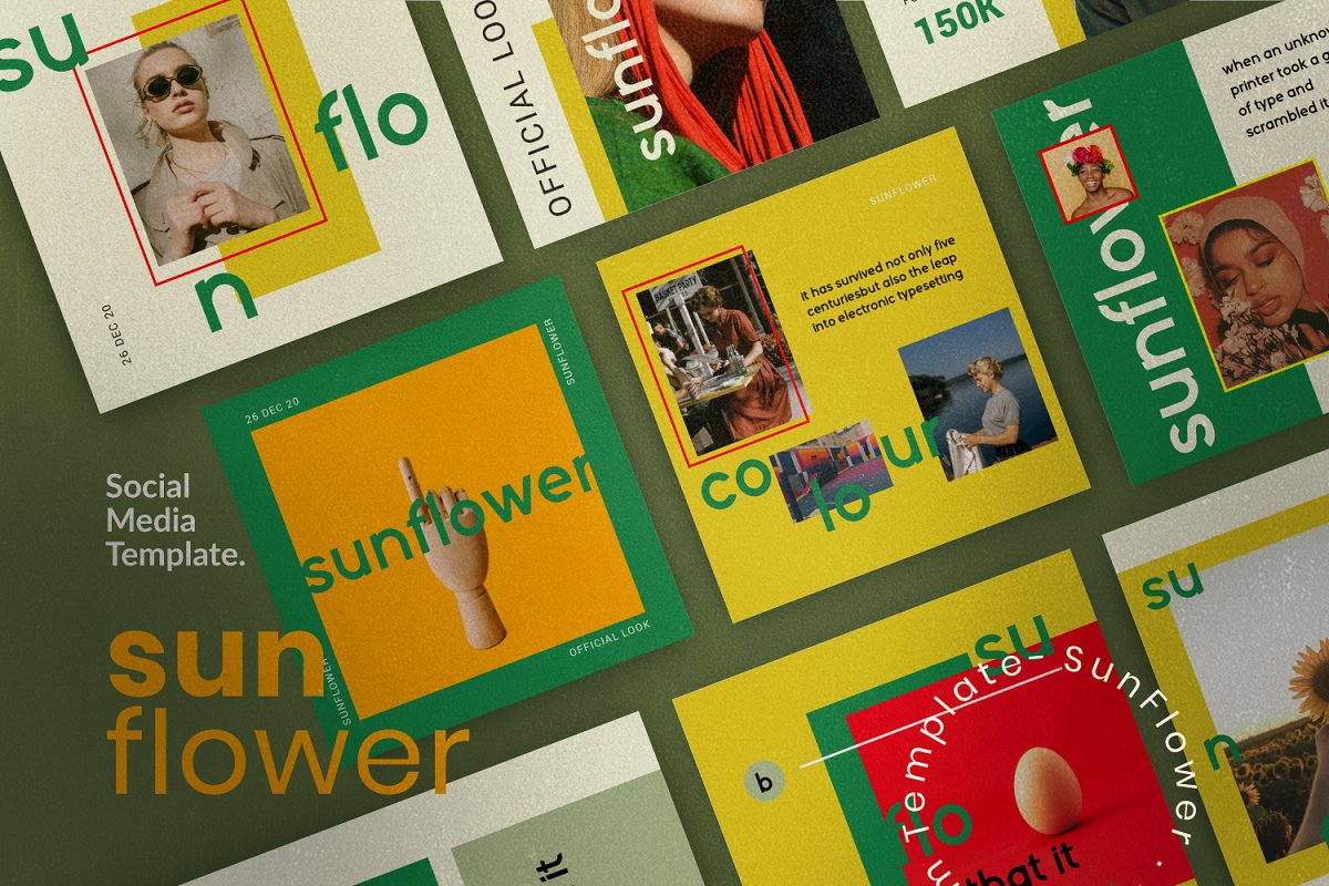 服装品牌故事社交推广设计模板素材包 Sunflower – Social Media Bundle插图(4)