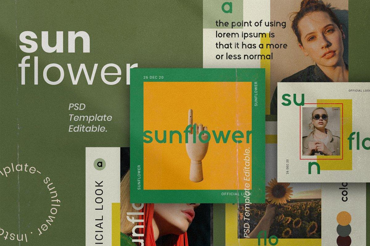 服装品牌故事社交推广设计模板素材包 Sunflower – Social Media Bundle插图(7)