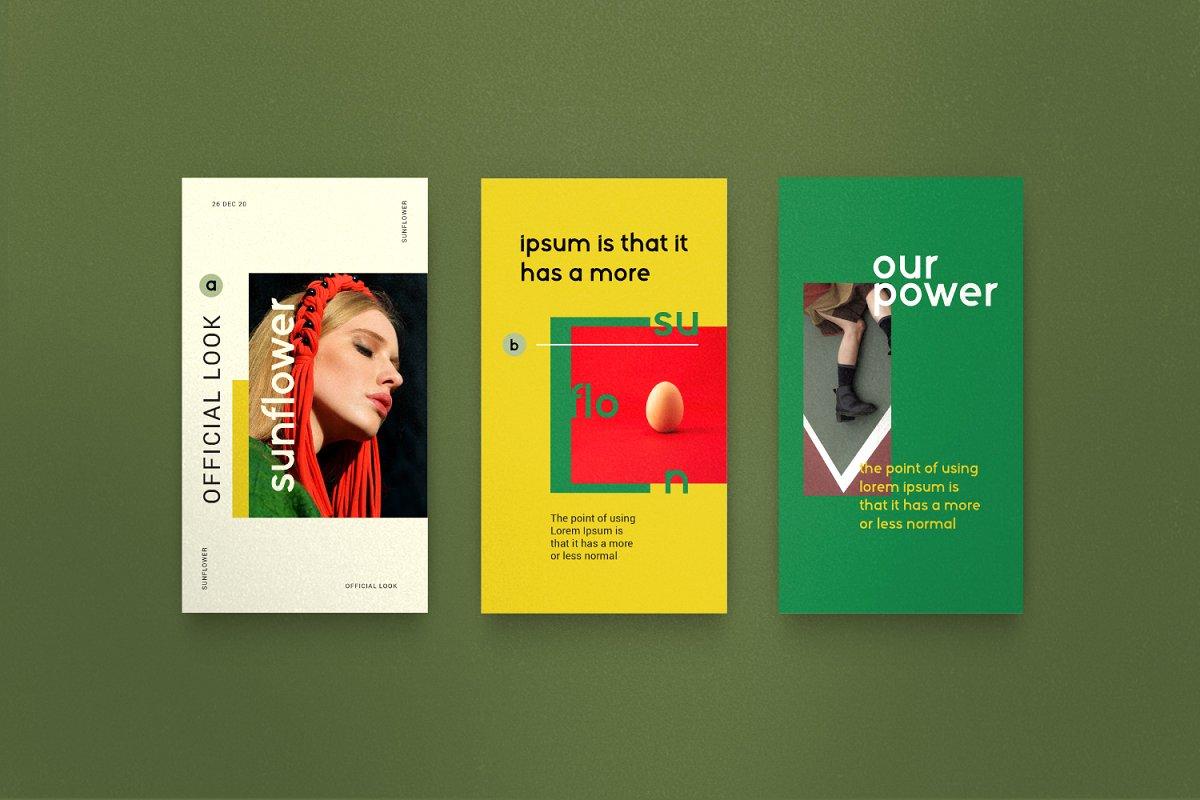 服装品牌故事社交推广设计模板素材包 Sunflower – Social Media Bundle插图(9)