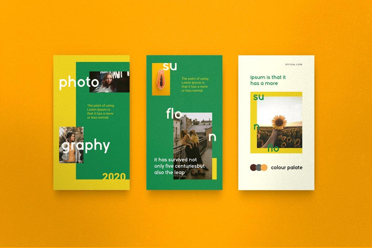 服装品牌故事社交推广设计模板素材包 Sunflower – Social Media Bundle插图(11)