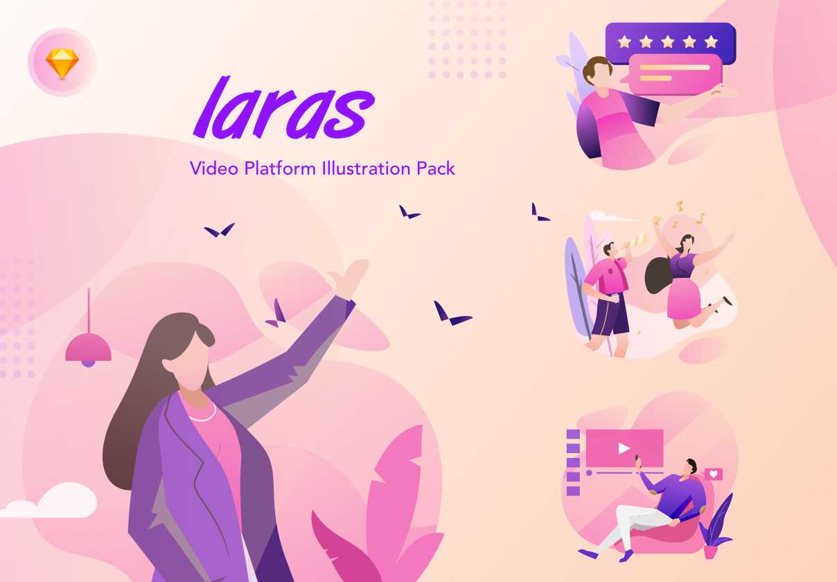 现代精美视频平台APP设计矢量插画素材包 Laras Video Illustration Pack插图