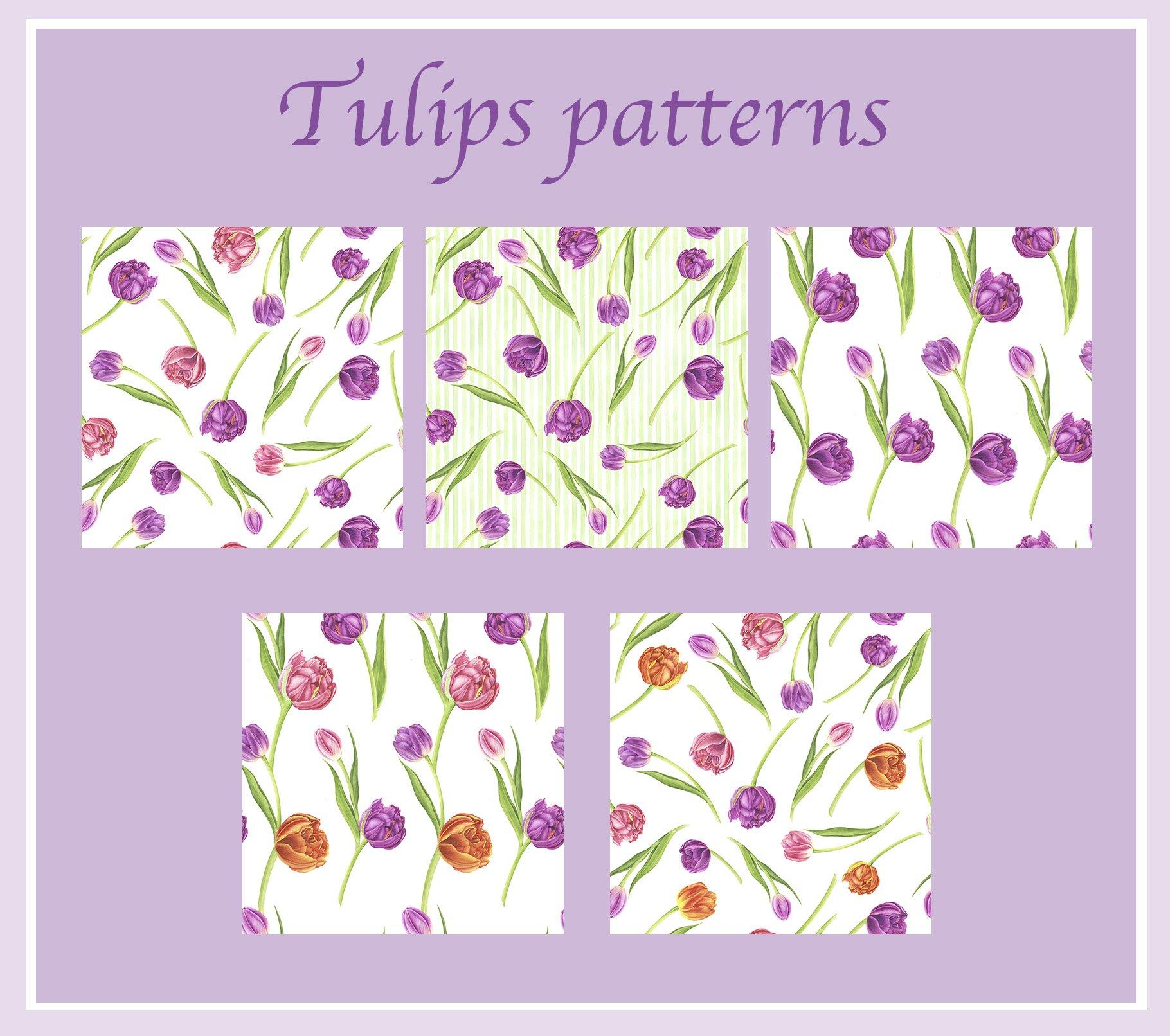春天郁金香花卉手绘水彩插画集 Spring Flowers Watercolor Patterns插图(1)