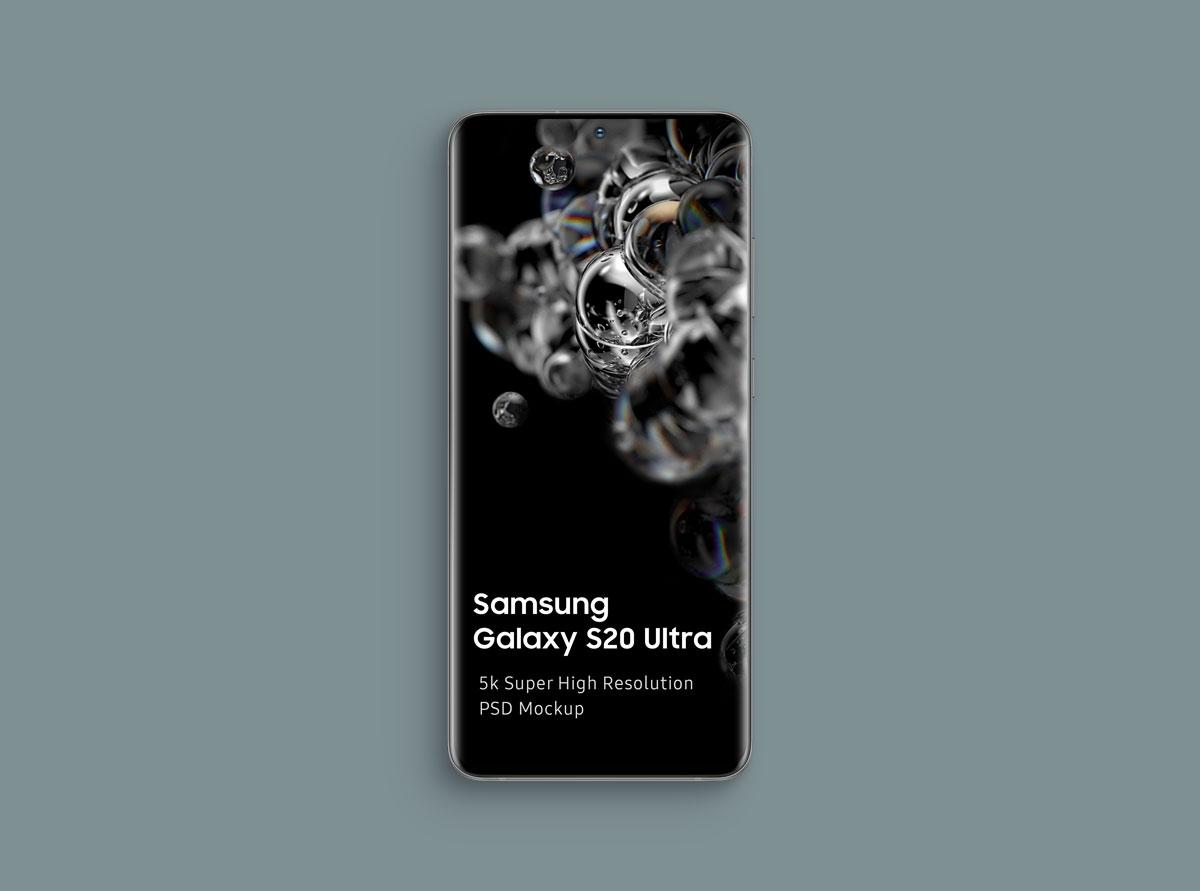 8个逼真三星Galaxy S20 Plus手机屏幕演示样机模板 Samsung Galaxy S20 Mockup插图(1)