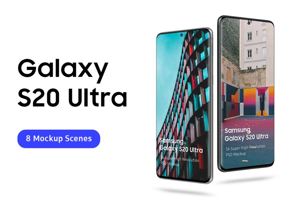 8个逼真三星Galaxy S20 Plus手机屏幕演示样机模板 Samsung Galaxy S20 Mockup插图