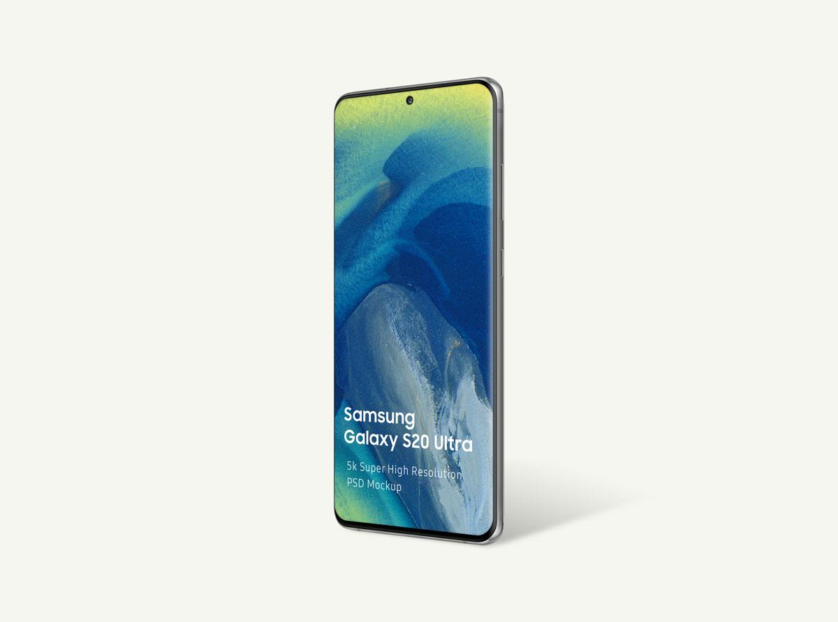 8个逼真三星Galaxy S20 Plus手机屏幕演示样机模板 Samsung Galaxy S20 Mockup插图(2)