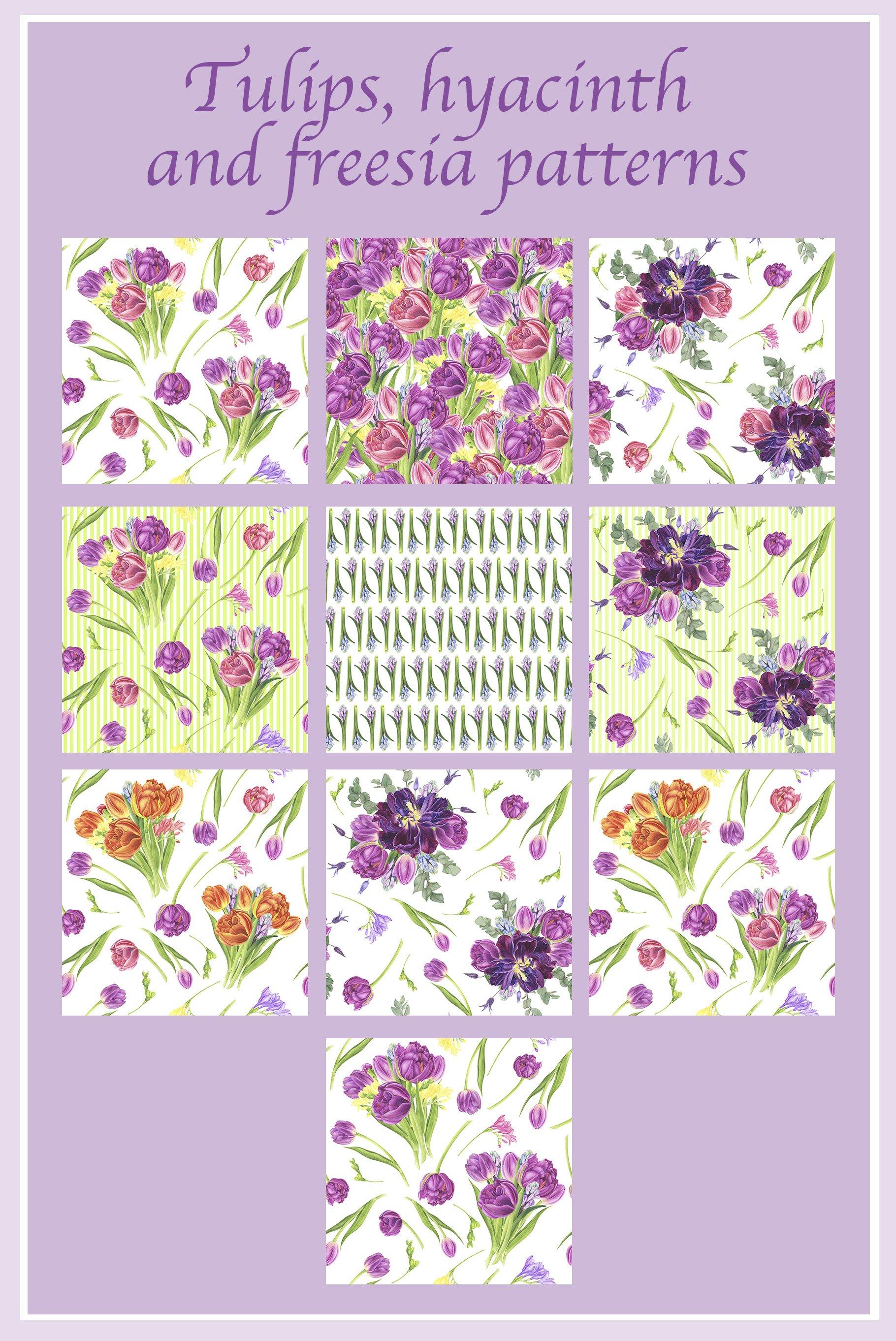 春天郁金香花卉手绘水彩插画集 Spring Flowers Watercolor Patterns插图(3)