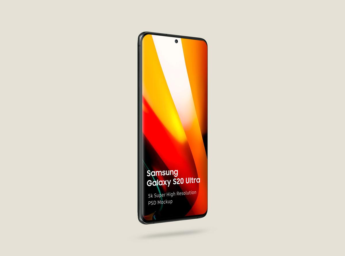8个逼真三星Galaxy S20 Plus手机屏幕演示样机模板 Samsung Galaxy S20 Mockup插图(3)