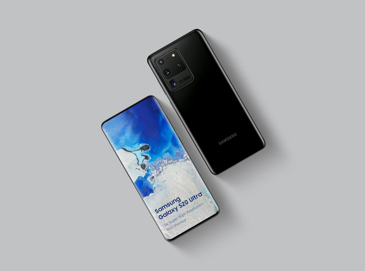 8个逼真三星Galaxy S20 Plus手机屏幕演示样机模板 Samsung Galaxy S20 Mockup插图(4)