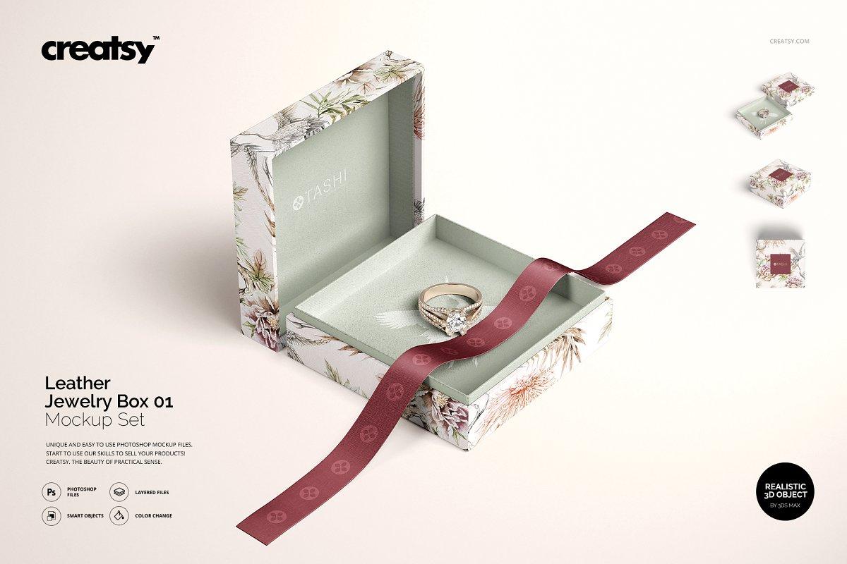 精美高端珠宝盒外观设计效果图样机模板01 Jewelry Box Mockup Set 01插图