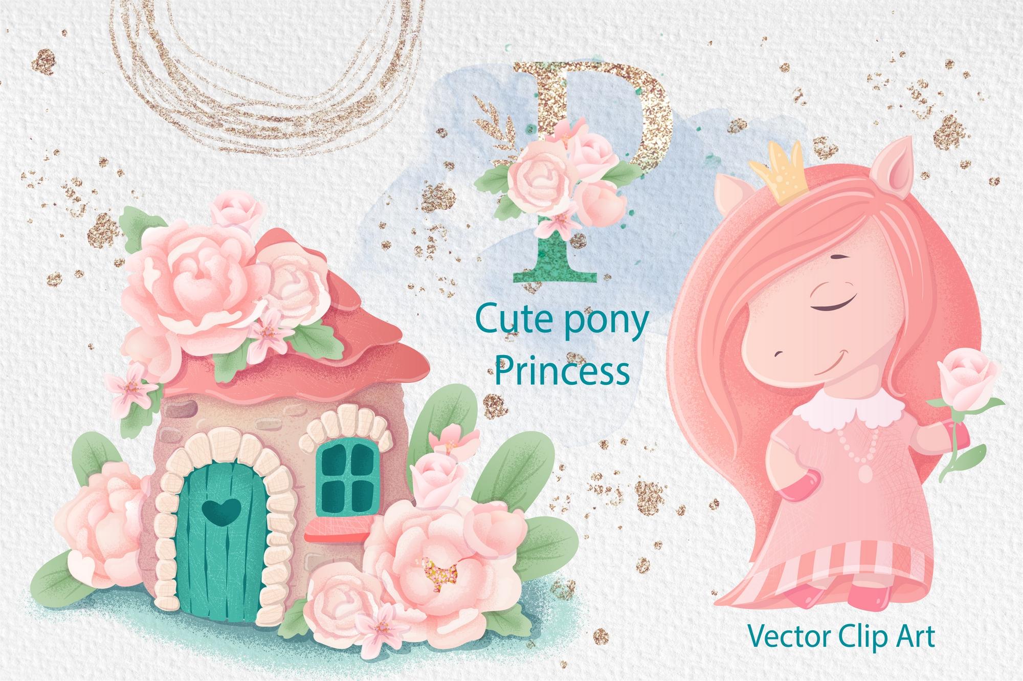 可爱小马公主花卉大写字母手绘剪贴画集 Cute Pony Princess插图