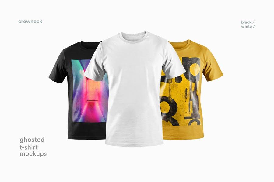 4款T恤衫设计展示图样机模板 T-shirt Mockup插图