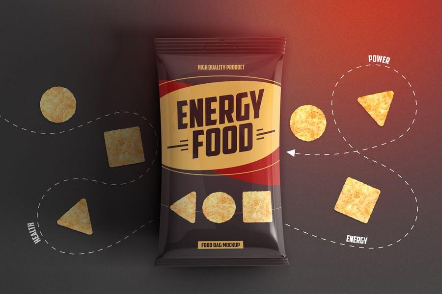 食品薯片包装袋外观设计效果图样机模板 Food Bag Product Mockup插图