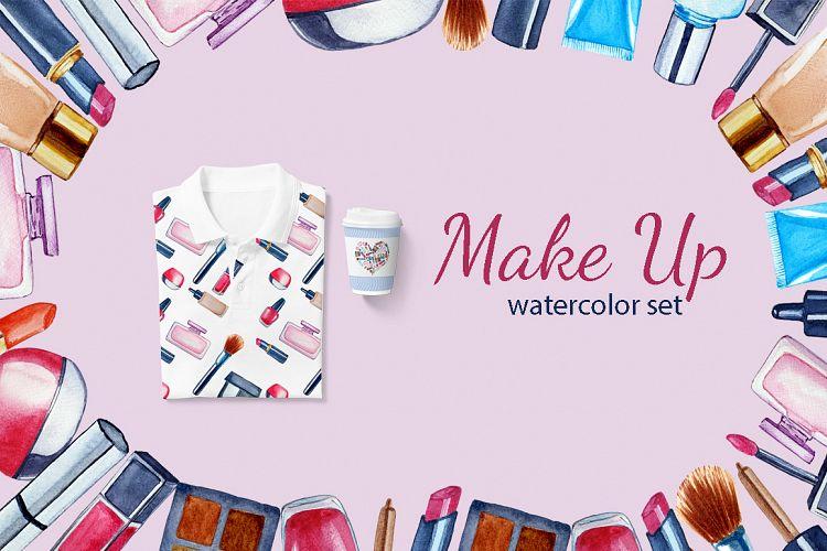 美容化妆主题手绘水彩剪贴画设计素材套装 Watercolor Make Up Set, Beauty Clip Art插图