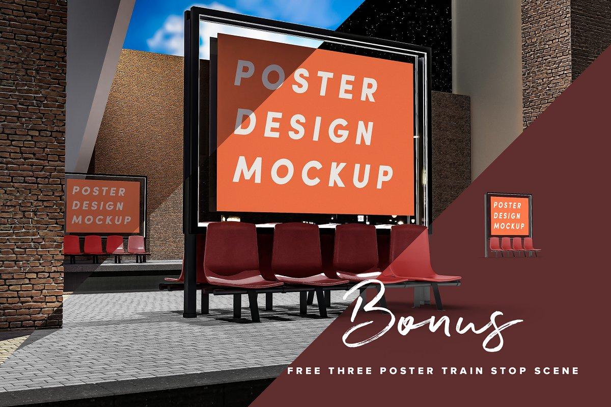 现代公交车站广告牌海报设计展示图样机模板 Poster Design Mockup (Bus Stop)插图(9)