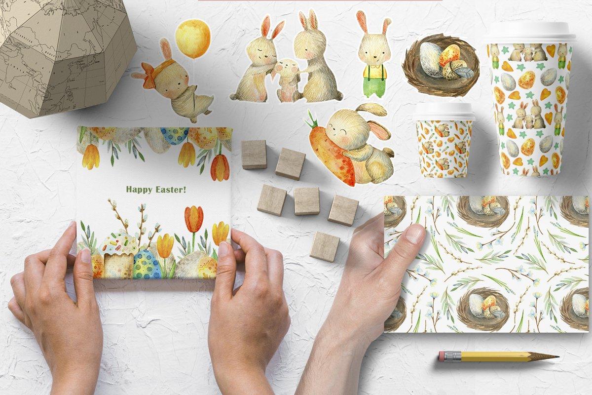 复活节主题兔子花卉手绘水彩画集 Happy Easter. Watercolor set.插图(1)