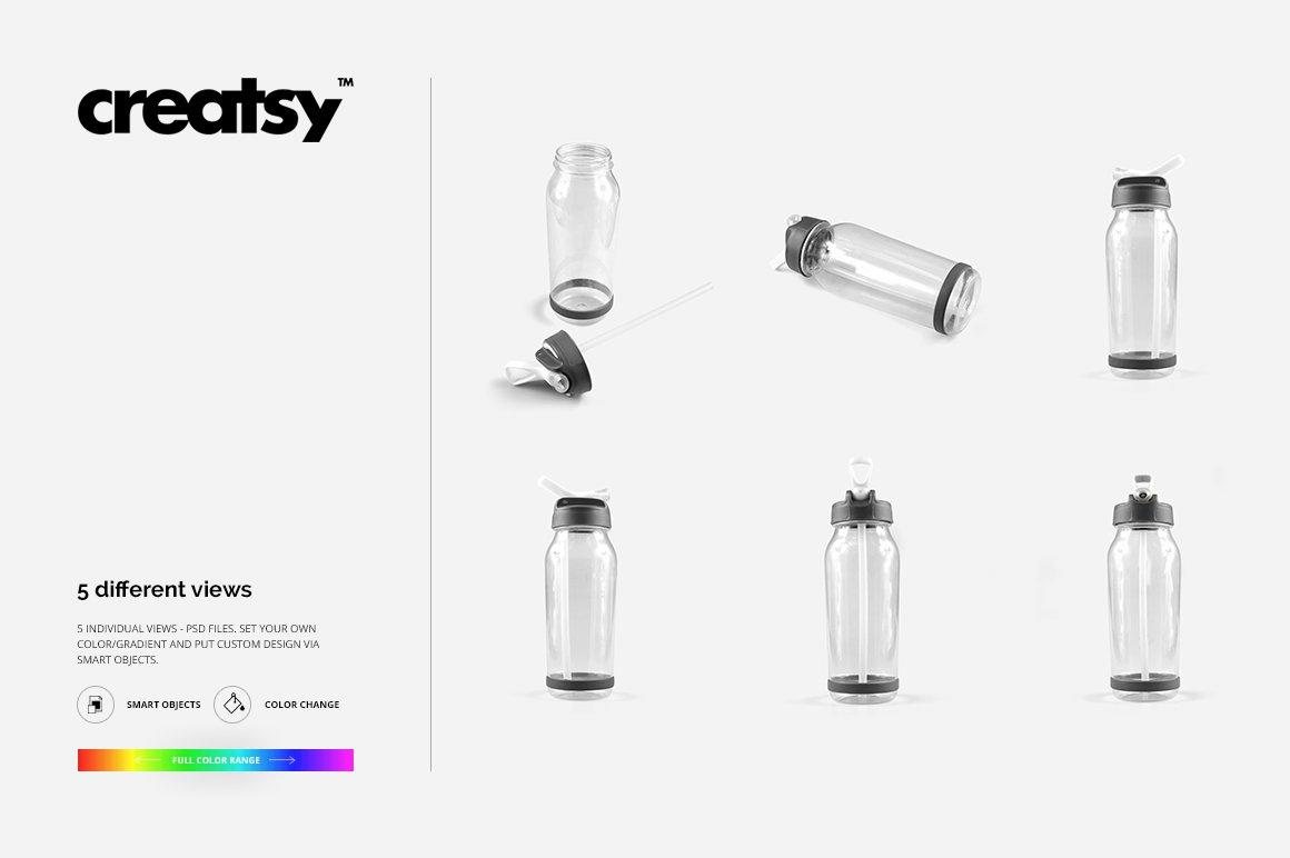 顶部翻转透明塑料水瓶外观设计效果图样机模板 Flip Top Clear Water Bottle Mockup插图(11)