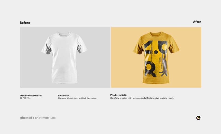 4款T恤衫设计展示图样机模板 T-shirt Mockup插图(1)