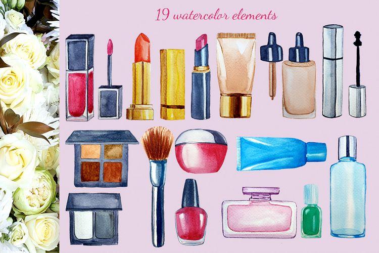 美容化妆主题手绘水彩剪贴画设计素材套装 Watercolor Make Up Set, Beauty Clip Art插图(1)