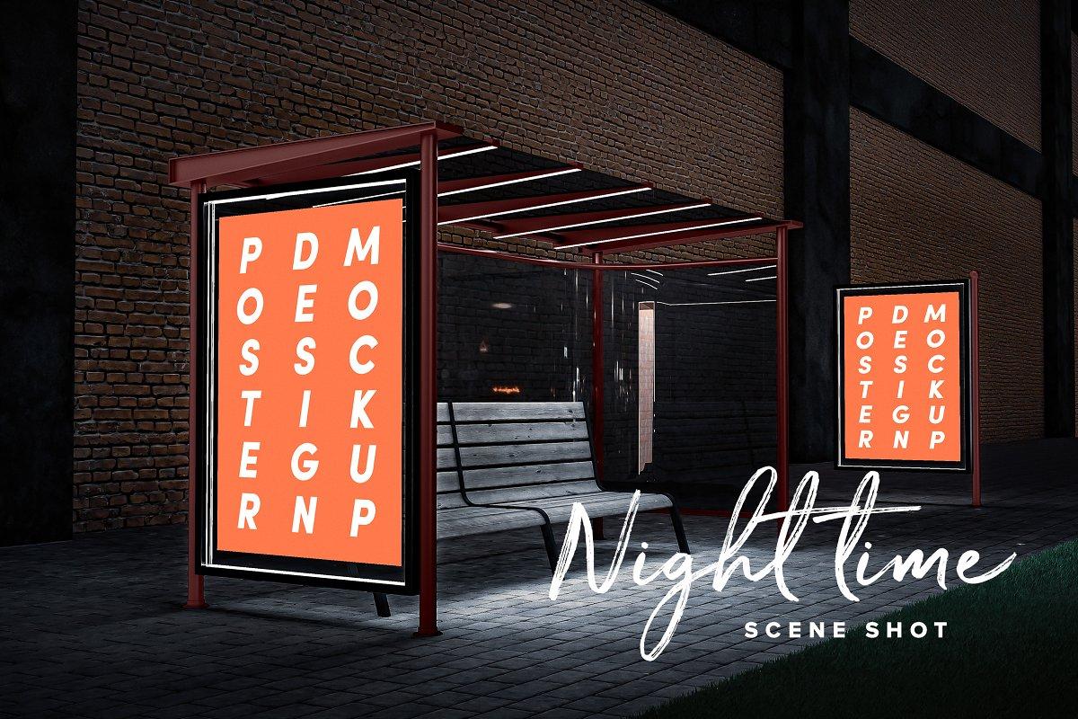 现代公交车站广告牌海报设计展示图样机模板 Poster Design Mockup (Bus Stop)插图(2)