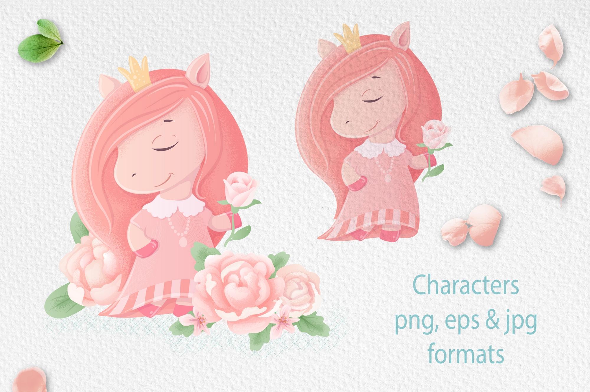 可爱小马公主花卉大写字母手绘剪贴画集 Cute Pony Princess插图(2)