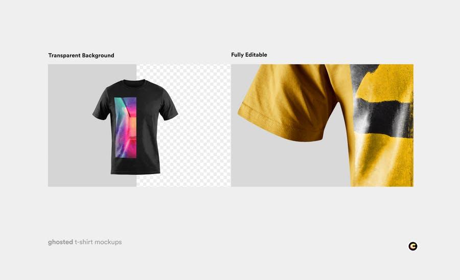4款T恤衫设计展示图样机模板 T-shirt Mockup插图(2)
