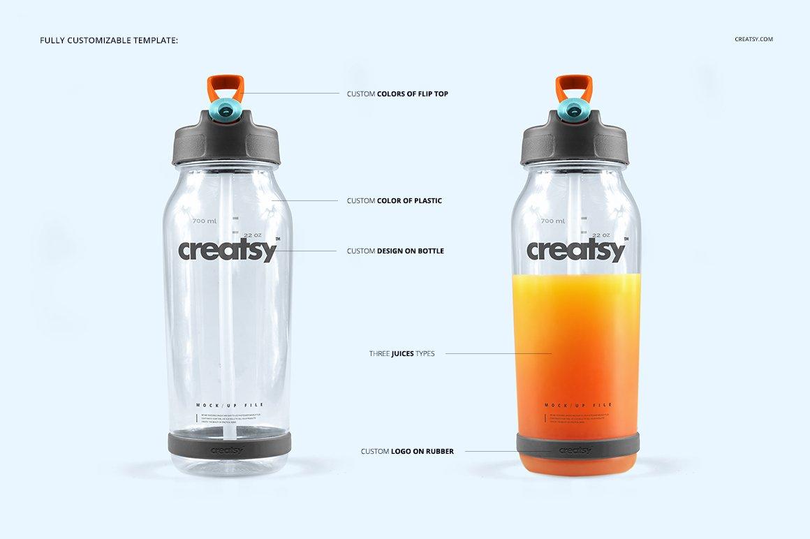 顶部翻转透明塑料水瓶外观设计效果图样机模板 Flip Top Clear Water Bottle Mockup插图(2)