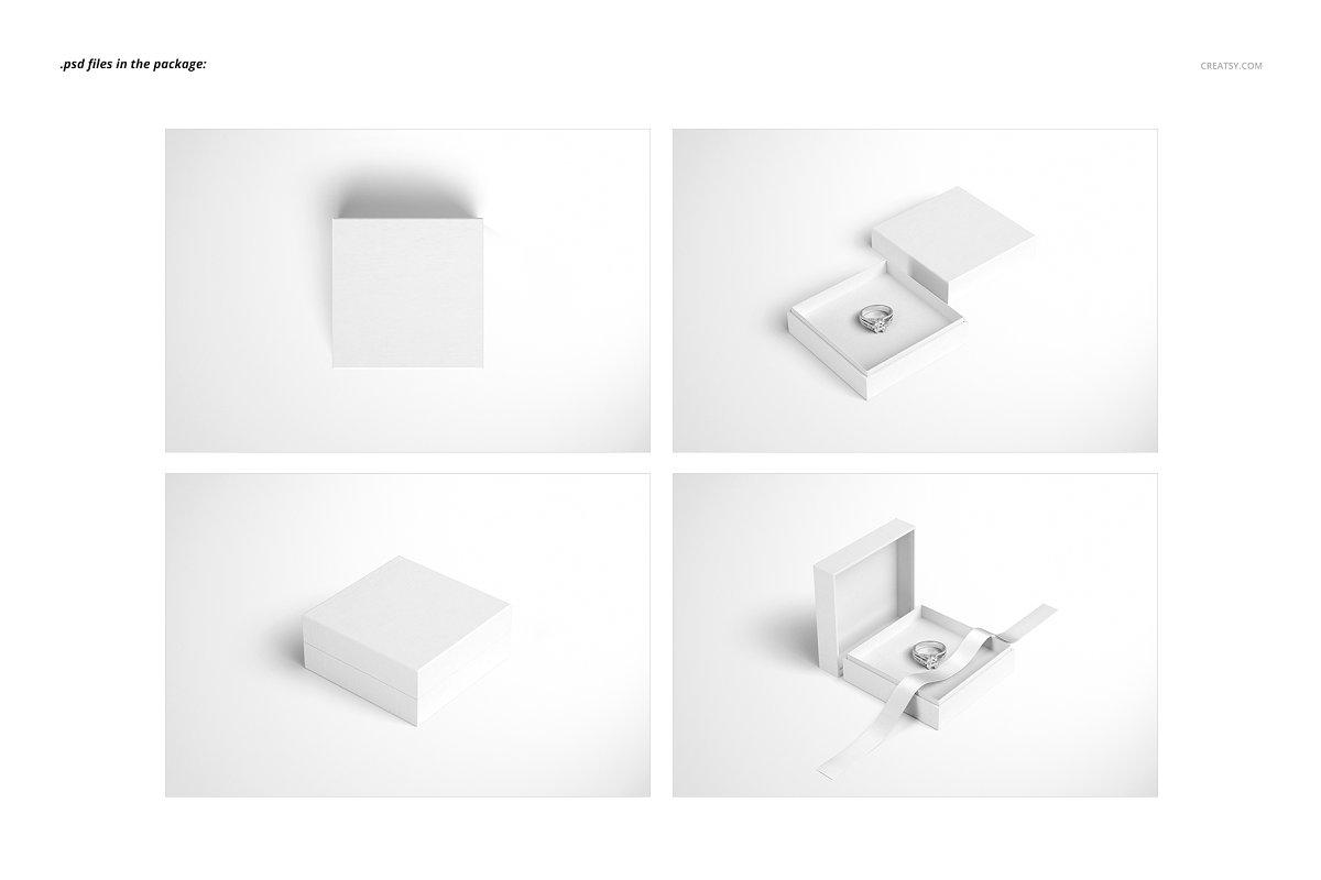 精美高端珠宝盒外观设计效果图样机模板01 Jewelry Box Mockup Set 01插图(2)