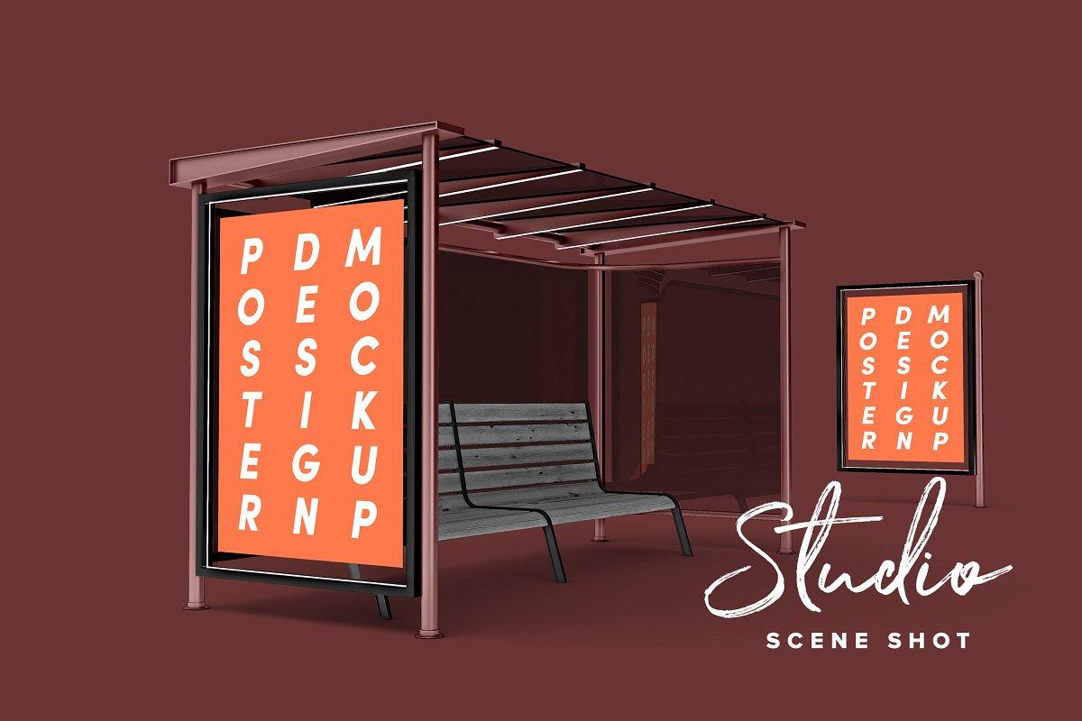 现代公交车站广告牌海报设计展示图样机模板 Poster Design Mockup (Bus Stop)插图(3)