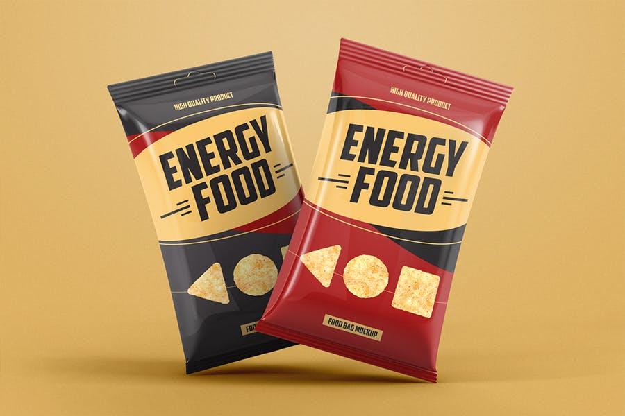 食品薯片包装袋外观设计效果图样机模板 Food Bag Product Mockup插图(3)