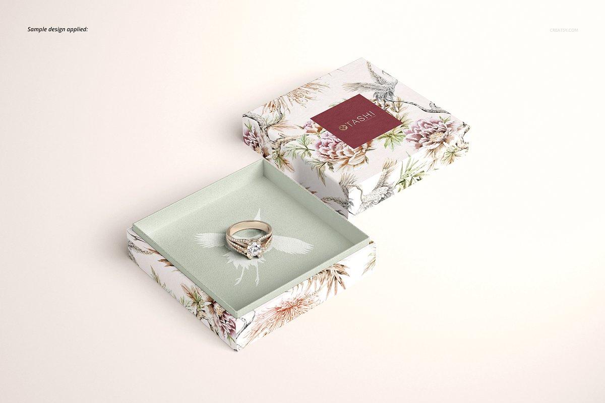 精美高端珠宝盒外观设计效果图样机模板01 Jewelry Box Mockup Set 01插图(4)