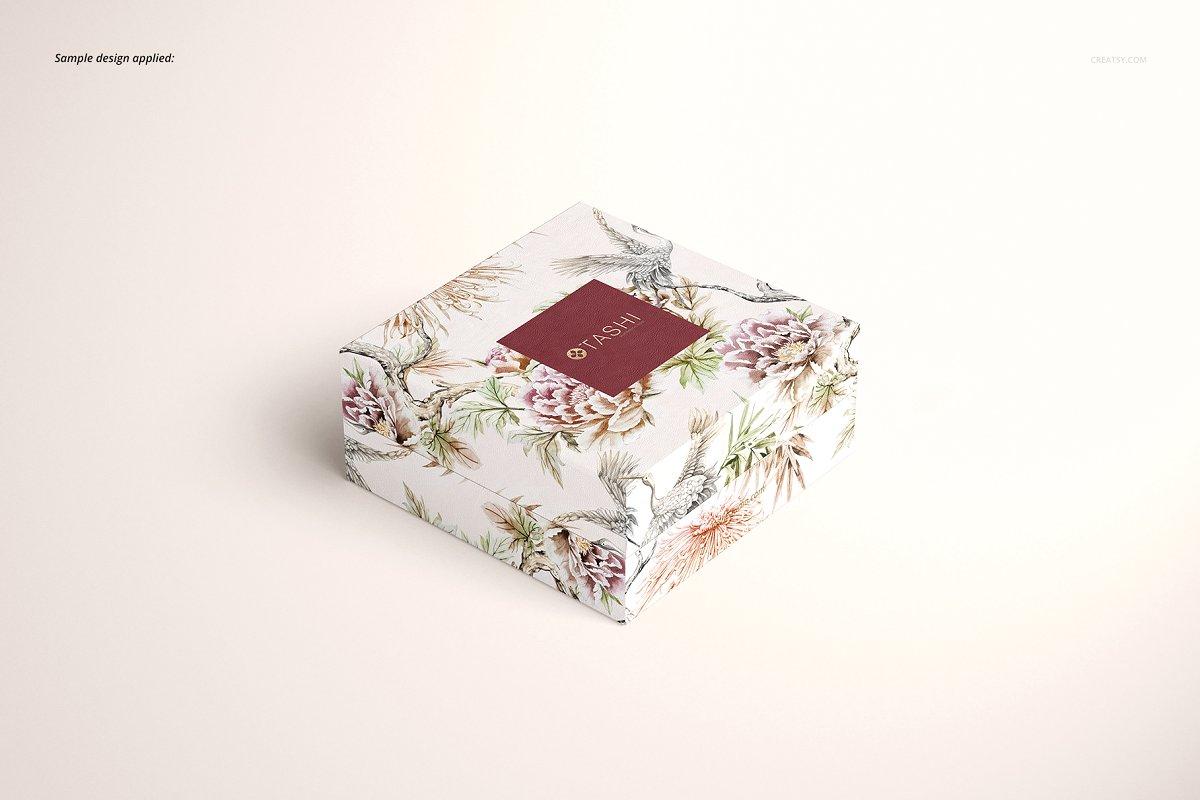 精美高端珠宝盒外观设计效果图样机模板01 Jewelry Box Mockup Set 01插图(5)