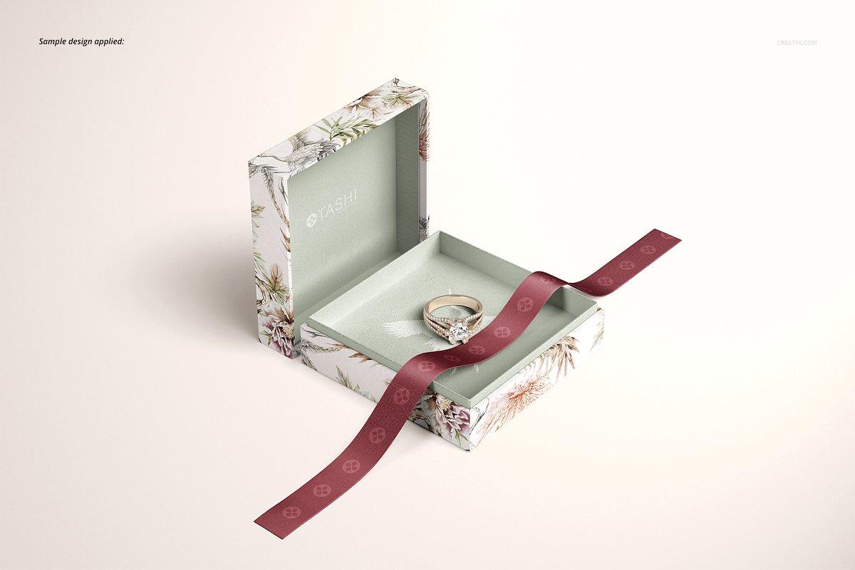 精美高端珠宝盒外观设计效果图样机模板01 Jewelry Box Mockup Set 01插图(6)