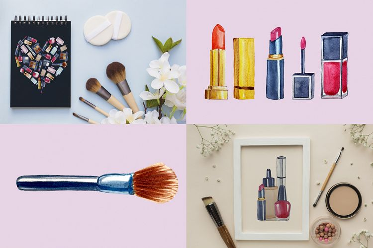 美容化妆主题手绘水彩剪贴画设计素材套装 Watercolor Make Up Set, Beauty Clip Art插图(3)