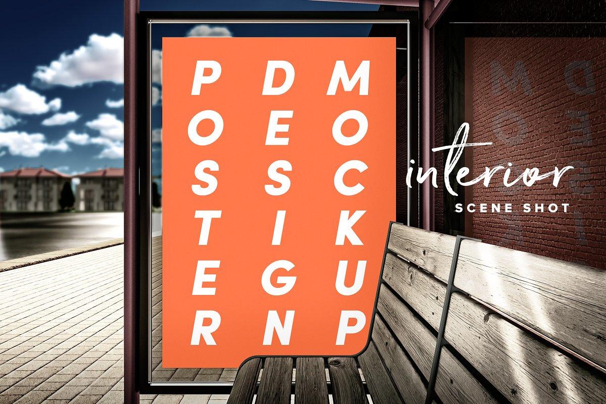 现代公交车站广告牌海报设计展示图样机模板 Poster Design Mockup (Bus Stop)插图(4)