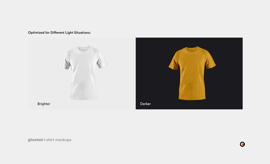 4款T恤衫设计展示图样机模板 T-shirt Mockup插图(4)