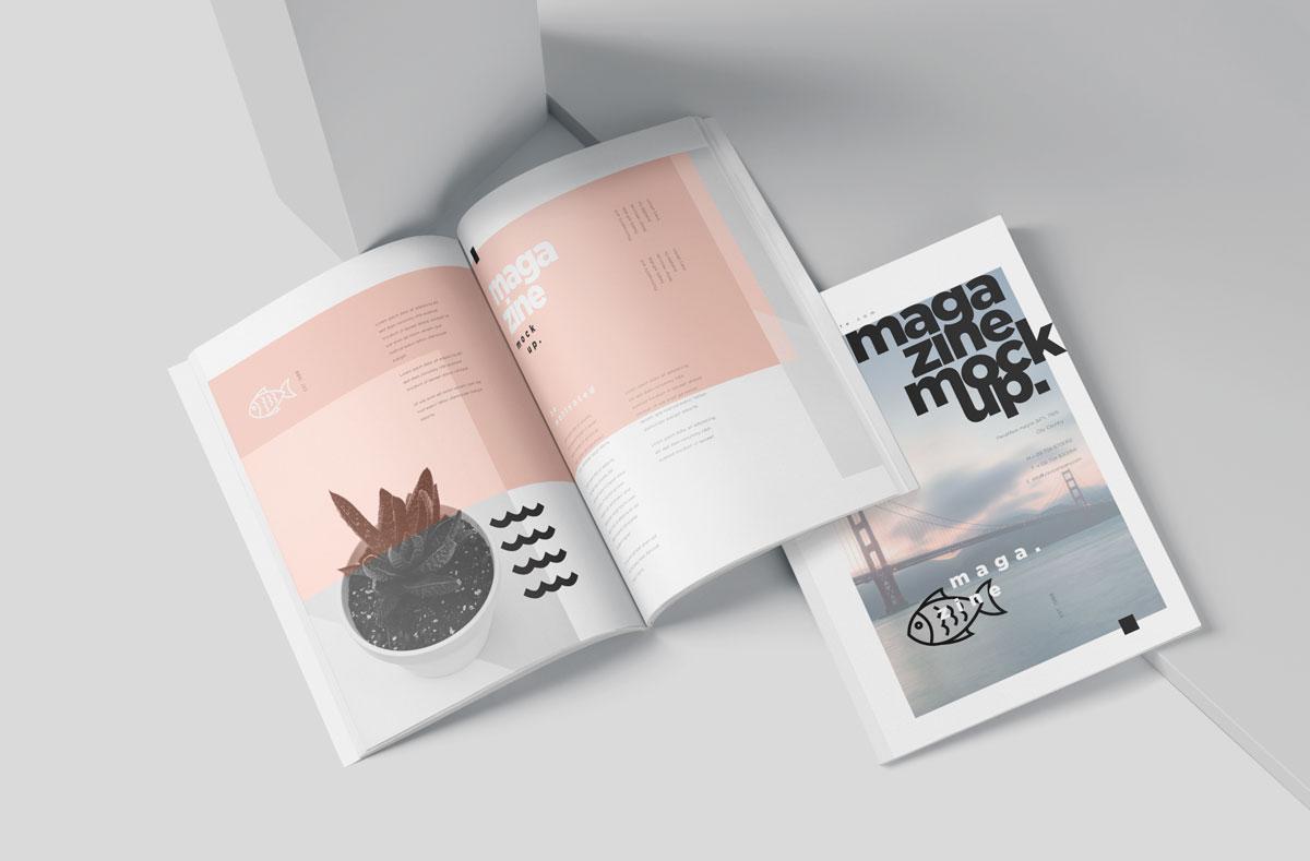 时尚A5杂志宣传画册设计效果图样机模板 A5 Slim Fashion Magazine Mockup Set插图