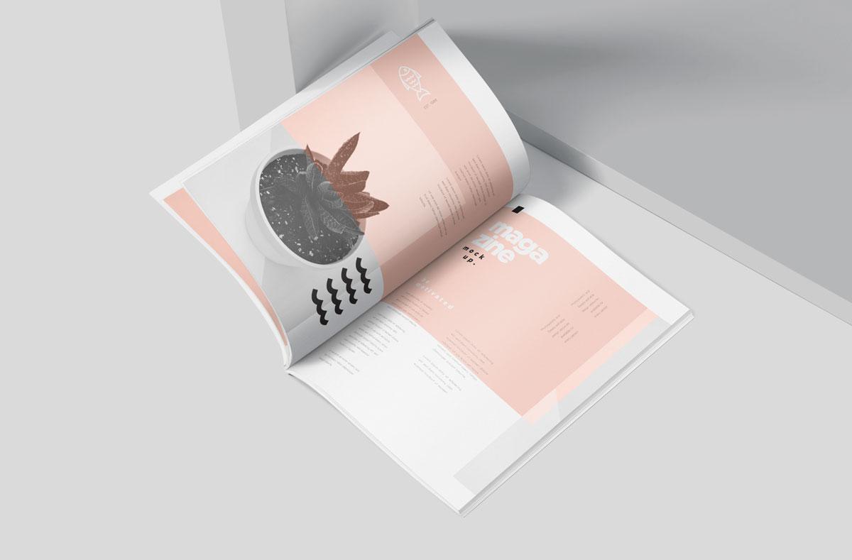 时尚A5杂志宣传画册设计效果图样机模板 A5 Slim Fashion Magazine Mockup Set插图(2)